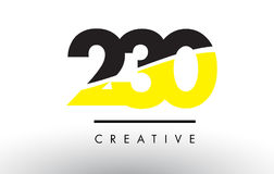 230 Black and Yellow Number Logo Design. 230 Black and Yellow Number Logo Design cut in half vector illustration