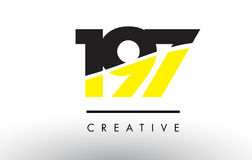197 Black and Yellow Number Logo Design. Stock Photo