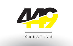 449 Black and Yellow Number Logo Design. 449 Black and Yellow Number Logo Design cut in half stock illustration