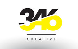 346 Black and Yellow Number Logo Design. 346 Black and Yellow Number Logo Design cut in half stock illustration