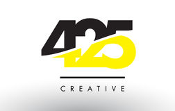 425 Black and Yellow Number Logo Design. 425 Black and Yellow Number Logo Design cut in half stock illustration
