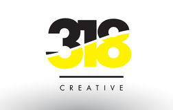 318 Black and Yellow Number Logo Design. 318 Black and Yellow Number Logo Design cut in half vector illustration