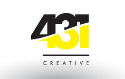 431 Black and Yellow Number Logo Design. 431 Black and Yellow Number Logo Design cut in half vector illustration