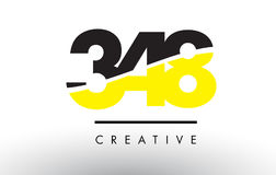 348 Black and Yellow Number Logo Design. 348 Black and Yellow Number Logo Design cut in half vector illustration