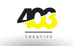 403 Black and Yellow Number Logo Design. 403 Black and Yellow Number Logo Design cut in half royalty free illustration
