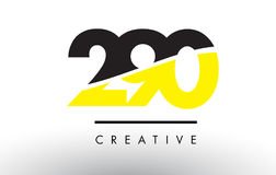 290 Black and Yellow Number Logo Design. 290 Black and Yellow Number Logo Design cut in half stock illustration