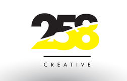 258 Black and Yellow Number Logo Design. 258 Black and Yellow Number Logo Design cut in half vector illustration