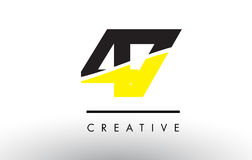 47 Black and Yellow Number Logo Design. 47 Black and Yellow Number Logo Design cut in half royalty free illustration