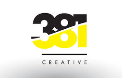 381 Black and Yellow Number Logo Design. 381 Black and Yellow Number Logo Design cut in half vector illustration
