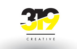 319 Black and Yellow Number Logo Design. 319 Black and Yellow Number Logo Design cut in half stock illustration