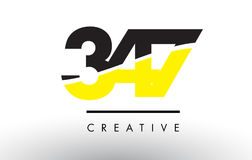 347 Black and Yellow Number Logo Design. 347 Black and Yellow Number Logo Design cut in half vector illustration