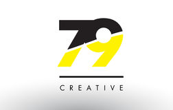 79 Black and Yellow Number Logo Design. Royalty Free Stock Photo