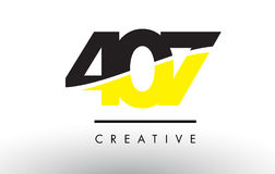 407 Black and Yellow Number Logo Design. Stock Image