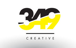 349 Black and Yellow Number Logo Design. 349 Black and Yellow Number Logo Design cut in half vector illustration