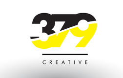 379 Black and Yellow Number Logo Design. 379 Black and Yellow Number Logo Design cut in half royalty free illustration