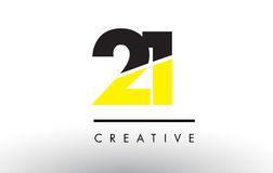 21 Black and Yellow Number Logo Design. 21 Black and Yellow Number Logo Design cut in half Stock Images