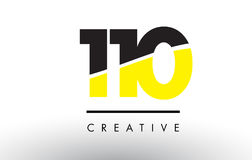110 Black and Yellow Number Logo Design. 110 Black and Yellow Number Logo Design cut in half Royalty Free Stock Photos