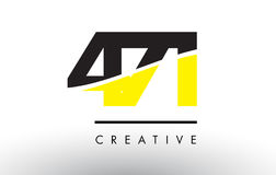 471 Black and Yellow Number Logo Design. Stock Image