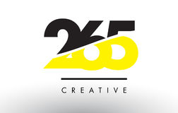 265 Black and Yellow Number Logo Design. 265 Black and Yellow Number Logo Design cut in half vector illustration