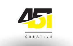 451 Black and Yellow Number Logo Design. 451 Black and Yellow Number Logo Design cut in half Royalty Free Stock Image