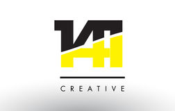 141 Black and Yellow Number Logo Design. 141 Black and Yellow Number Logo Design cut in half Stock Photo