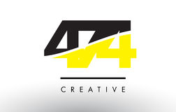 474 Black and Yellow Number Logo Design. 474 Black and Yellow Number Logo Design cut in half vector illustration