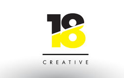 18 Black and Yellow Number Logo Design. 18 Black and Yellow Number Logo Design cut in half vector illustration