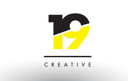 19 Black and Yellow Number Logo Design. 19 Black and Yellow Number Logo Design cut in half Stock Illustration