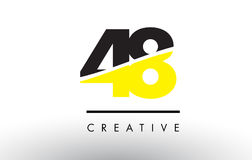 48 Black and Yellow Number Logo Design. 48 Black and Yellow Number Logo Design cut in half Stock Photo