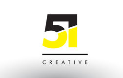 51 Black and Yellow Number Logo Design. 51 Black and Yellow Number Logo Design cut in half Stock Photo