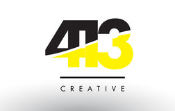 413 Black and Yellow Number Logo Design. Royalty Free Stock Photography