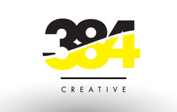 384 Black and Yellow Number Logo Design. Royalty Free Stock Photos