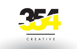 354 Black and Yellow Number Logo Design. Royalty Free Stock Images