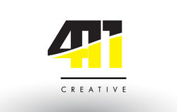 411 Black and Yellow Number Logo Design. Stock Photo