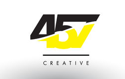 457 Black and Yellow Number Logo Design. 457 Black and Yellow Number Logo Design cut in half Stock Illustration