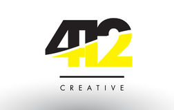 412 Black and Yellow Number Logo Design. Royalty Free Stock Photos