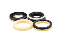 Black and yellow oil seal  on white background Royalty Free Stock Images