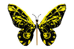 Black and yellow paint made butterfly Stock Images
