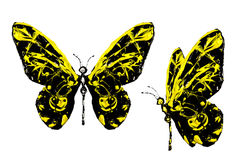 Black yellow paint made butterfly set Stock Photo