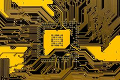 Black and yellow pcb circuit of motherboard Royalty Free Stock Images
