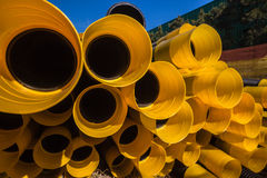 Black Yellow Plastic Drainage Pipe royalty free stock photos