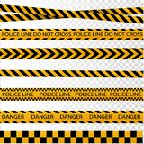 Black and yellow police stripe border, construction, danger caution seamless tapes vector set. Black and yellow police stripe border, construction, danger vector illustration