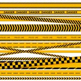 Black and yellow police stripe border, construction, danger caution seamless tapes vector set. Black and yellow police stripe border, construction, danger royalty free illustration