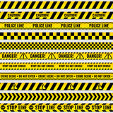 Black and yellow police stripe border, construction, danger caution seamless tapes vector set Royalty Free Stock Photos