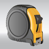 Black and yellow realistic vector measuring tape Stock Image