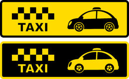 Black and yellow retro taxi symbol Stock Images