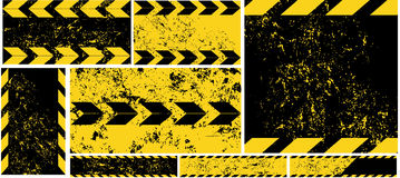 Black Yellow Road Sign diagonal Stripes on Grunge Background Automobile horizontal and vertical Banners Road Pattern Car Service U Royalty Free Stock Photo