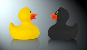 Black and yellow rubber ducks Royalty Free Stock Photography