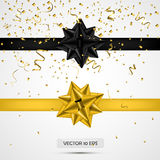 Black and yellow satin bows.Vector illustration. White background. Luxury bows and ribbons collection with confetti. For present decoration, sale promotion Royalty Free Stock Images