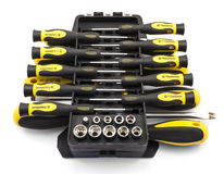 Black and yellow screwdriver set in organizer box  Stock Photography